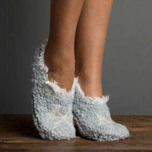 Lemon Ladies Knit Faux-Fur Lined Slipper Socks Gripper Bottoms Bootie Clearwater