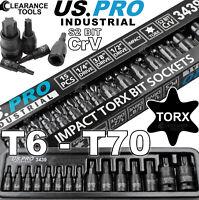 """US PRO INDUSTRIAL IMPACT TORX BIT SOCKET SET T6 - T70 1/4"""" 3/8"""" 1/2""""dr TRX 3439"""