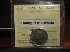 CANADA FIVE 5 CENTS 1947, FADING N of caNada, ICCS MS-63 !!!!!