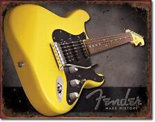 Fender Stratocaster guitarras estados unidos vintage Design History metal escudo cartel