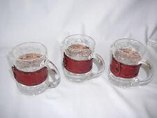 Teeglas Becher Craquelee mit Leder Eisglas Glühwein Tee Punsch Vintage 60er 70er