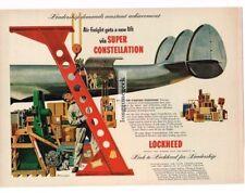 1953 LOCKHEED Super Constellation Airplane art by HENNINGER Vtg Print Ad