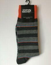 UNSIMPLY STITCHED Men's GRAY MULTI STRIPE Combed Cotton Socks Men's 8-12 $12