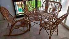 Salottino vimini vintage dondolo sedia poltrona tavolo RATTAN SOLO RITIRO