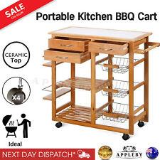 Kitchen Trolley Portable Cooking Workbench Island Bench Wooden Kitchen Storage