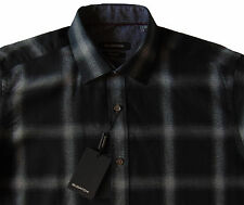 Men's BUGATCHI Black Gray Plaid Flannel Shirt Small S NWT NEW Classic Fit