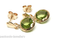 9ct Gold Peridot Round Drop earrings Made in UK Gift Boxed Birthday Gift
