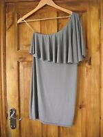 John Zack short silver grey one shoulder dress, size M/L, 12