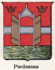 Stemma del Comune di PORDENONE. Cromolitografia. Friuli-Venezia Giulia. 1901