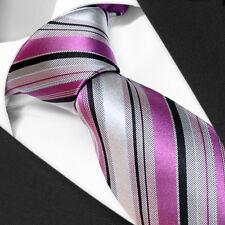 Cravate Luxe de Marque Française 100% SOIE Violet et Gris - Silk Tie Purple Gray
