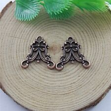 40pcs Antiqued Copper Red Alloy Floral Charms Pendant Jewelry Connectors 51554