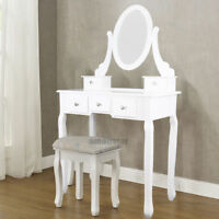 Blanc Coiffeuses Coiffeuse meuble table maquillage tabouret commode avec miroir