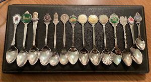 Vintage Collection Of 14 Souvenir Teaspoons