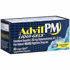 2 Pack Advil PM Liqui-Gels Night Time Pain Reliever 40 Liqui-Gels Each