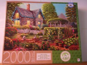 Milton Bradley Garden Escape 2000pc Puzzle Cottage Cats Owl Flower Geno Peoples