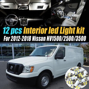 12Pc Car Interior LED White Light Bulb Kit for 2012-2018 Nissan NV1500/2500/3500