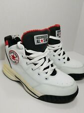 Vintage Converse High Top Mens Leather Basketball Shoes Sz 6.5  White black red