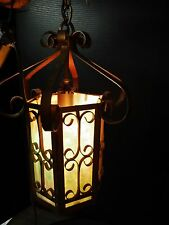 Vintage Arts and Crafts Stained Glass Hanging  LIGHT FIXTURE Gothic Foyer Porch