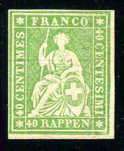 SWITZERLAND Scott #40 40r Green With Silk Thread Unused No Gum. 4 Margins