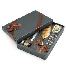 Black Quill Feather Dip Pen Writing Set with 5 Tips Sepia Ink Box Christmas Gift