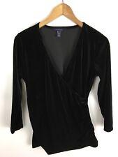 LANDS´ END Damen Langarmshirt schimmernd samtig Schwarz Größe S