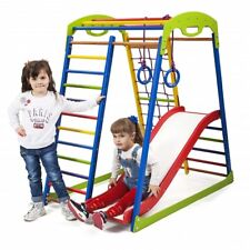 Kids home wooden playground with climbing net, children's slide for Indoor use