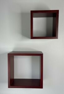 """Wood Wall Cube Square Display Shelves Mounted Shadow Boxes 8"""" and 6"""""""