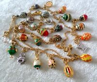 Joan Rivers Queen of Romania Faberge Egg And Charm Pendant Necklace Enamel Fish