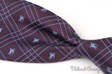 "BURBERRY LONDON Maroon Twill Check KNIGHT LORO 100% Silk Mens Luxury Tie - 3.50"""