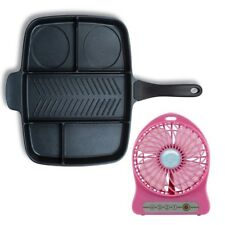 Multi Pan Non-Stick Multi-Section 5-in-1 Frying Pan with Portable Fan (Pink)