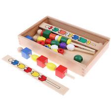 Kids Preschool & Kindergarten Montessori Math Geometry Beads String Wood Toy