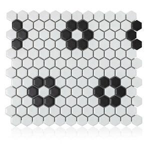 10.25x11.75 Hexagon Flower porcelain mosaic