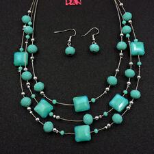 Betsey Johnson Fashion Jewelry Beauty Blue Gemstone Choker Necklace Earrings Set