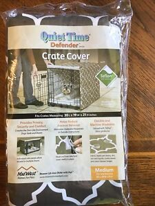"Midwest Quiet Time Defender Series Crate Cover for Dogs, 30"" L Stylish Brown"