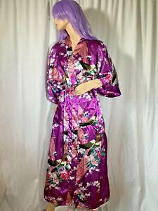 Silky purple Kimono robe Satin polyester M L pockets Sash maxi Sexy sissy Asian