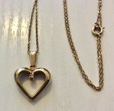 """Lovely Ladies Solid 9CT Gold Diamond Heart Pendant On Fine 9CT Chain 16"""""""