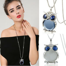 Fashion Womens Owl Rhinestone Crystal Pendant Long Chain Necklace Jewelry