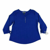 Karen Scott Women's Top Ruched-Sleeve Henley-Neck Blouse Blue Plus Sizes