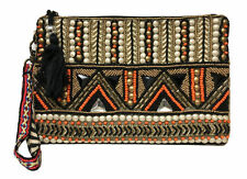 Big Buddha Bonita Beaded Wristlet Purse Bag Clutch Black Orange Gold Tribal NWT
