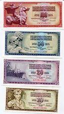 YUGOSLAVIA SET 4 PCS 10 20 50 100 DINARA 1978-1981-1986 P 87 88 89 90 UNC