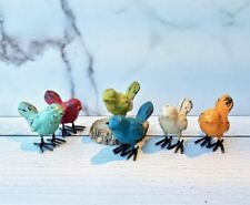 Set of Six Colorful Cast Iron Bird Figures