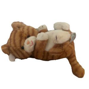 """Vtg Russ Berrie Plush Tabby Plush Cat Stuffed Animal 11"""" Kitten Orange White"""
