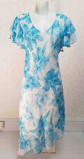 pastel blue white floral sheer chiffon V neck Flutter sleeve Asymmetric dress 12