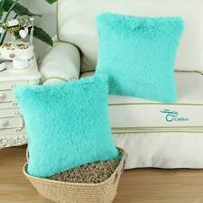 2Pcs Turquoise Soft Plush Faux Fur Fleece Cushion Cover Pillow Shell Home 18X18""