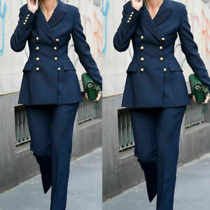 Navy Blue Women Ladies Formal Pant Suits Business Work Wear Double Breasted