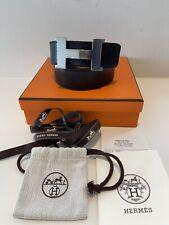 Auth Hermes 42MM Black/Brown Belt Palladium Buckle size 100 Box Dust Bag Receipt