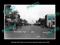 OLD LARGE HISTORIC PHOTO OF COLORADO CITY TEXAS, THE MAIN STREET & STORES c1930