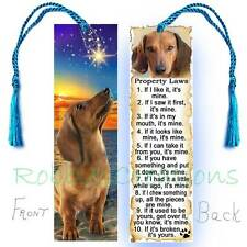 DACHSHUND Large BOOKMARK Tassel Doxie Dog Laws RULES Wish Upon a Star Book CARD