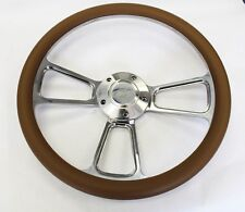 """Bronco F100 F150 F250 F350 Steering Wheel 14"""" Tan and Billet Ford Center Cap"""