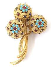 Vintage Ciner Flower Brooch Pin Red Blue Rhinestones Turquoise Glass Beads